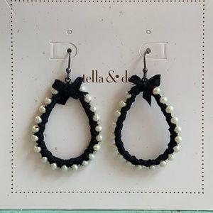 Stella & Dot Black Ribbon and Pearl Earrings